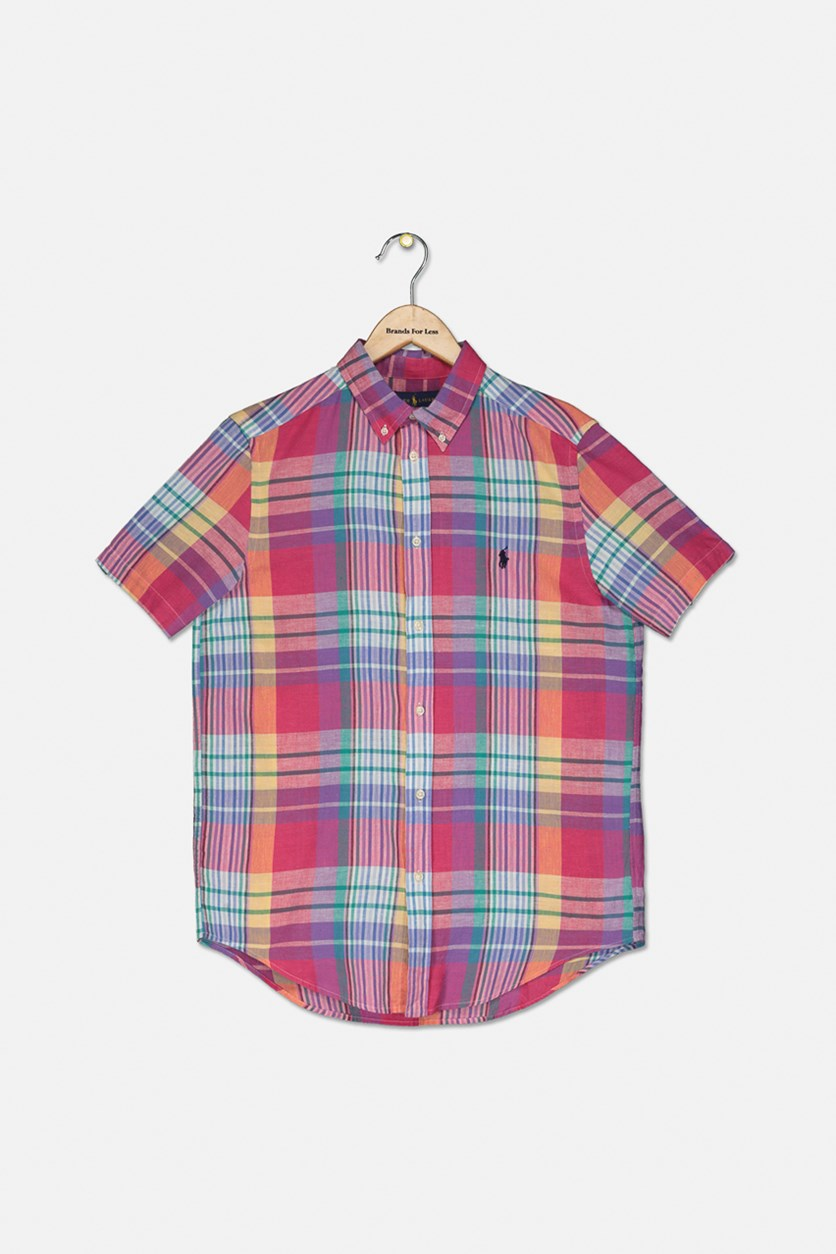 Kids Boys Plaid Button Shirt, Purple Combo
