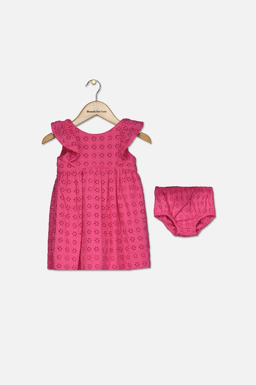 Toddler Girl's Eyelet Woven Ruffle-Trim Dress, Pink