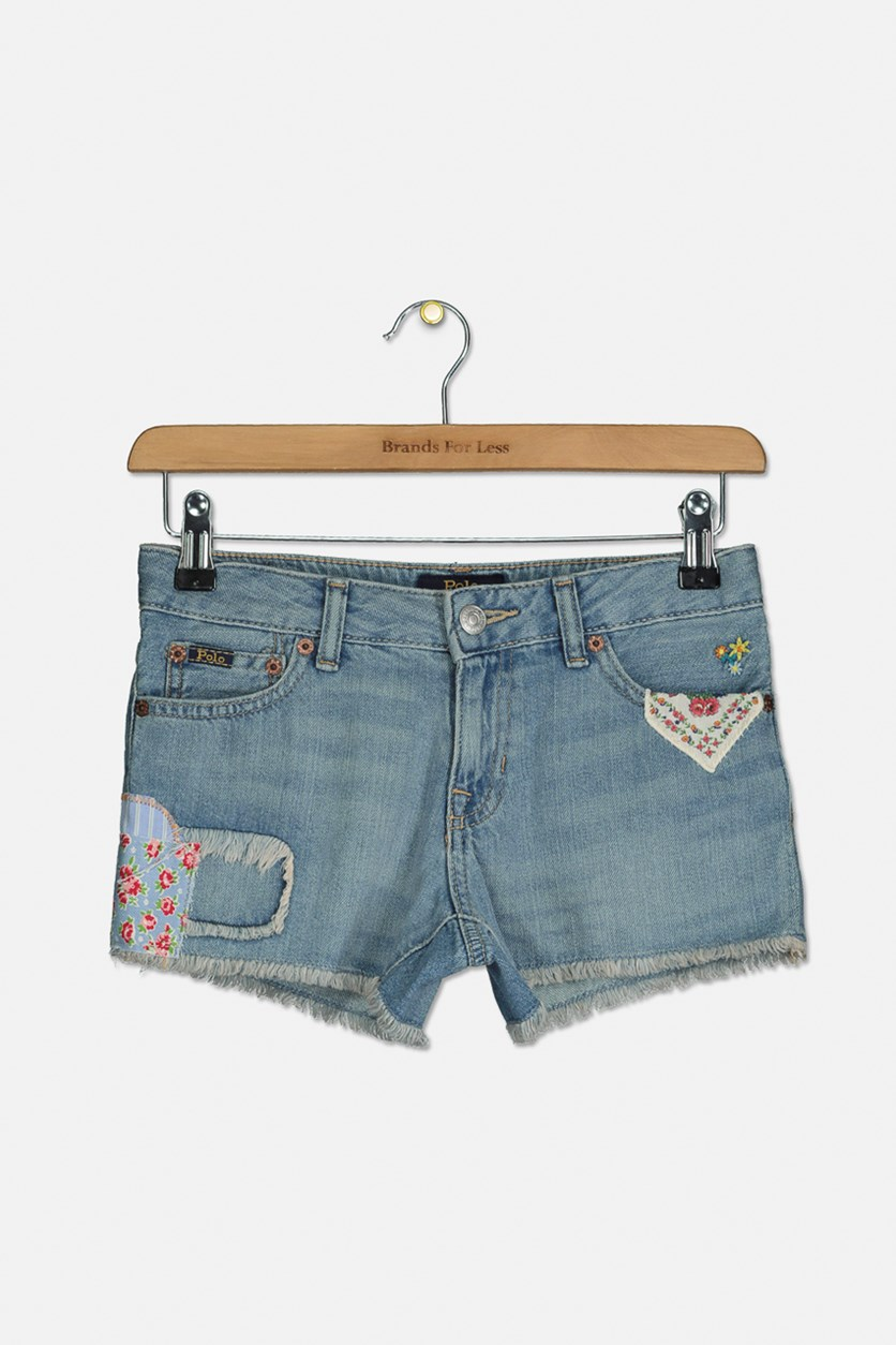 Big Girl's Distressed Cotton Shorts, Denim Blue