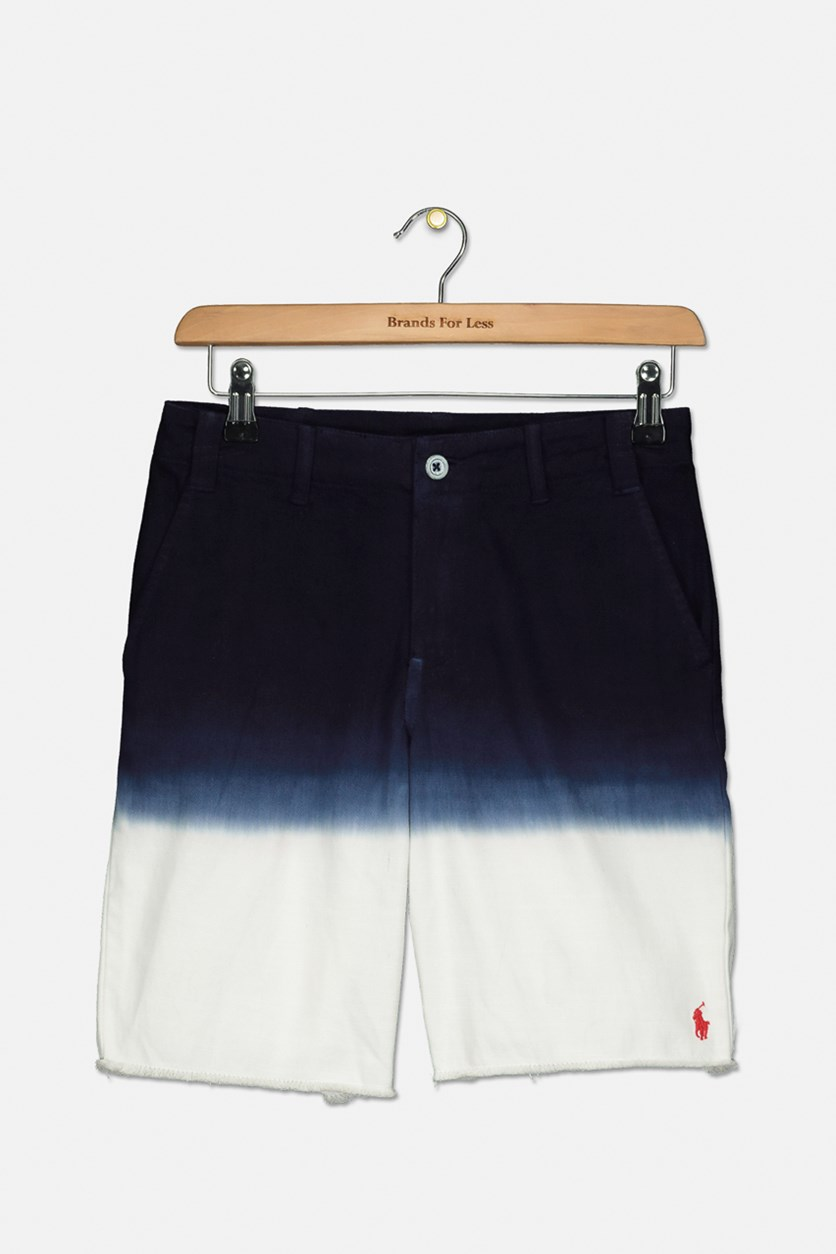 Boys' Straight Fit Dip-Dyed Shorts, Navy/White