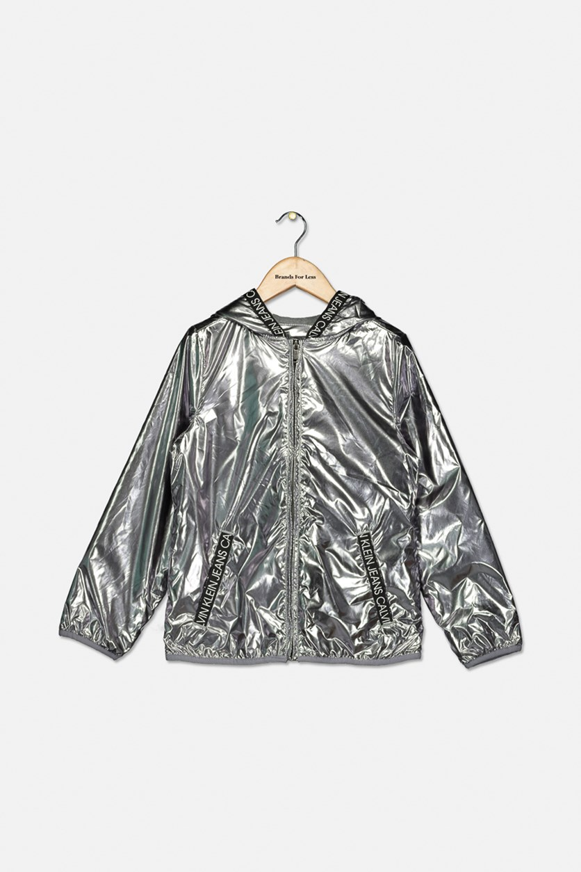 Big Girl's Metallic Logo Jacket, Silver