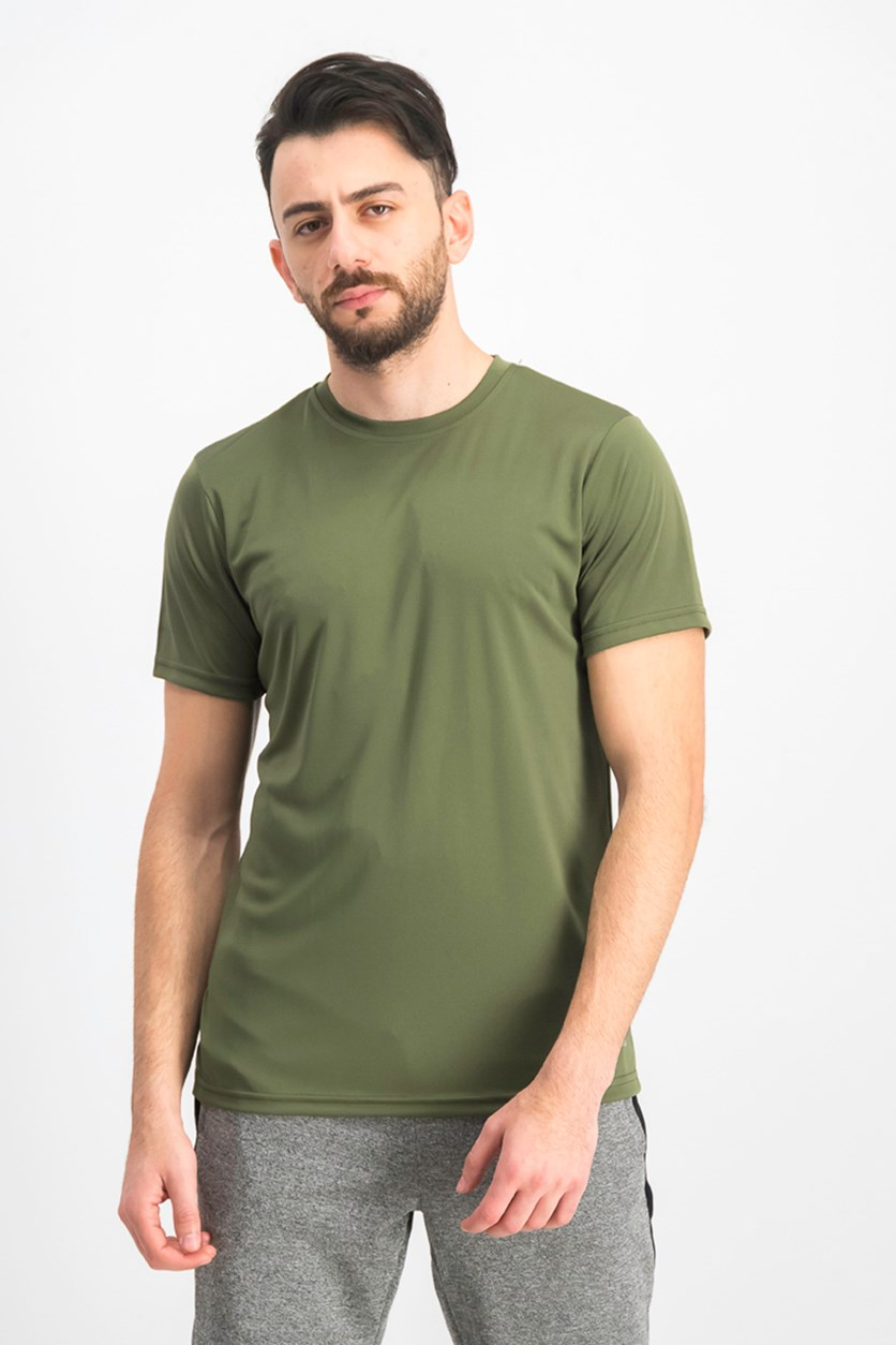 Men's Crew Neck Plain T-shirts, Army Green