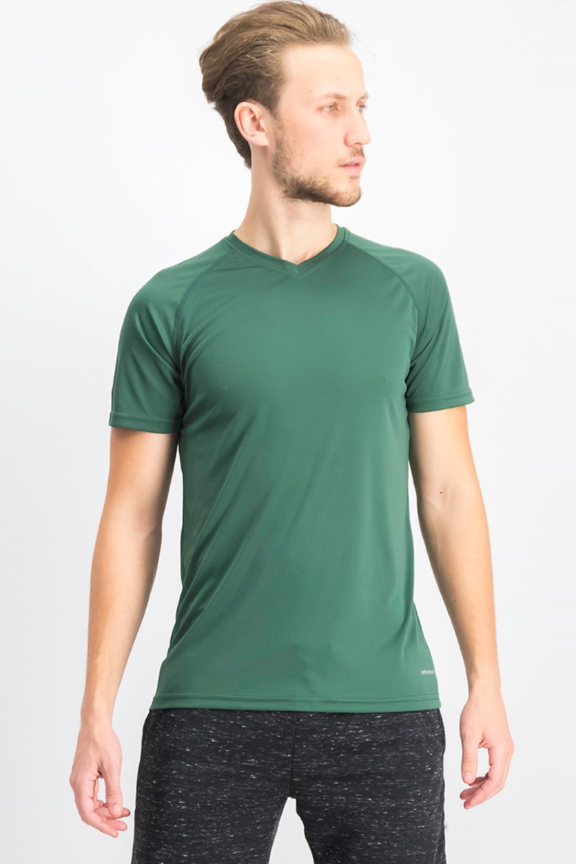 Men's V-neck Plain T-shirts, Dark Green