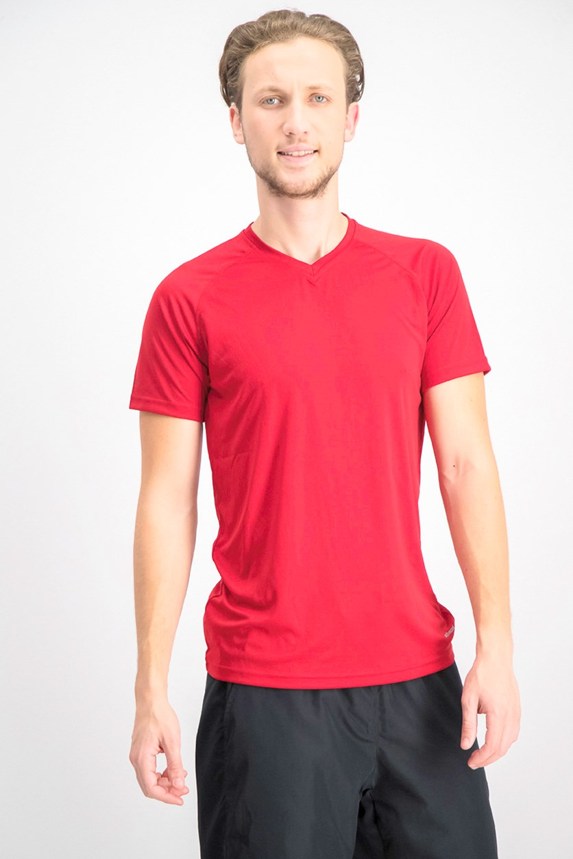 Men's V-Neck Plain T-shirts, Red