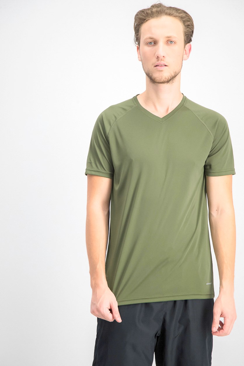 Men's V-Neck Short Sleeve T-shirts, Army Green