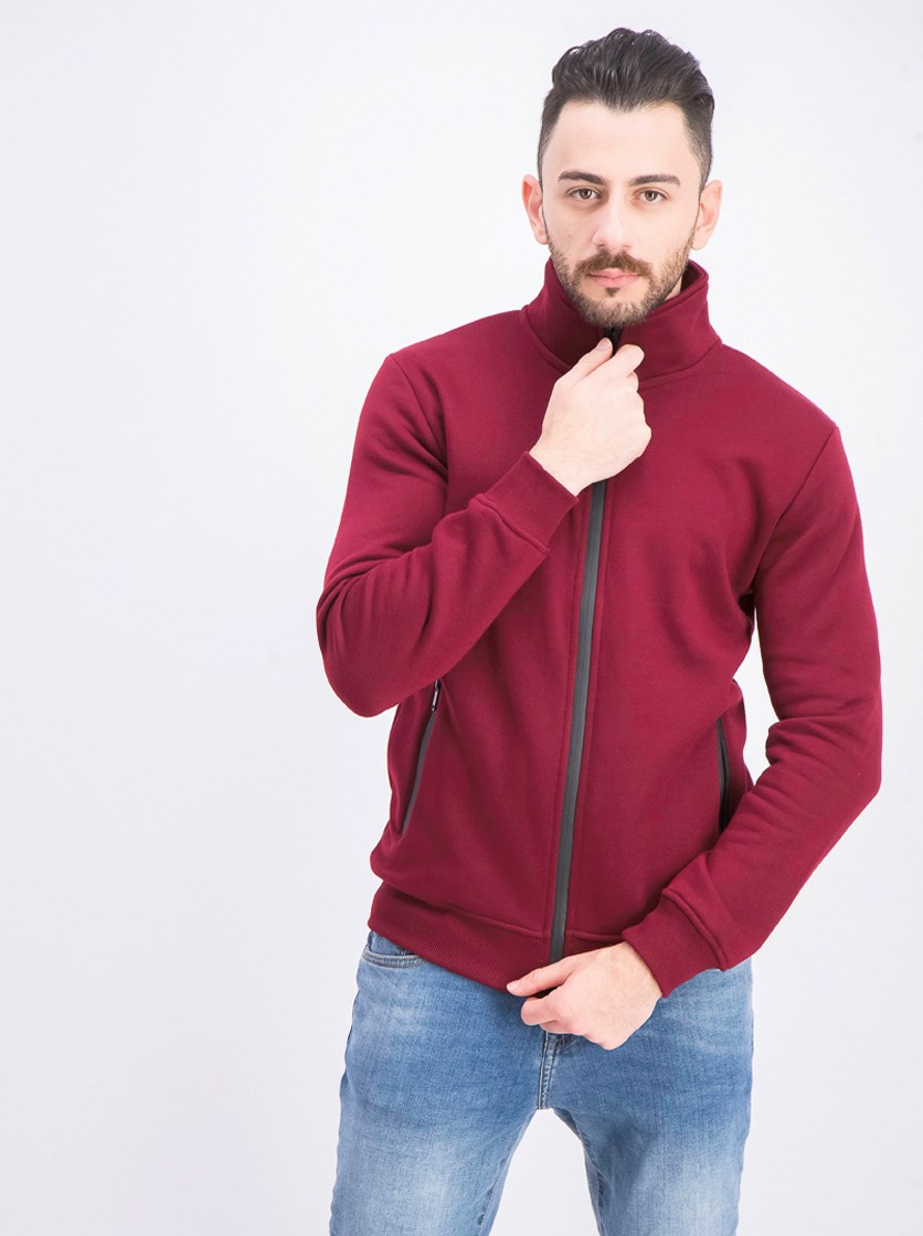 Men's Full Zip Jacket, Dark Red