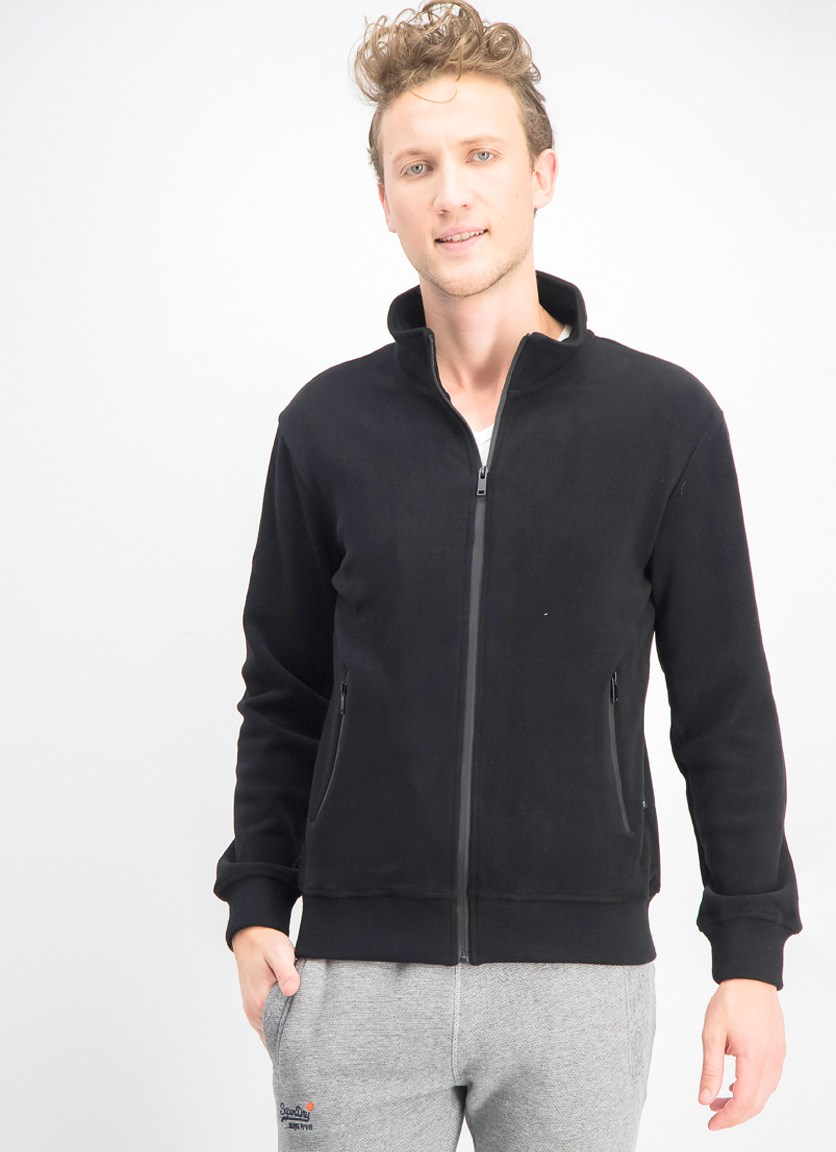 Men's Suede Full Zip Jacket, Black