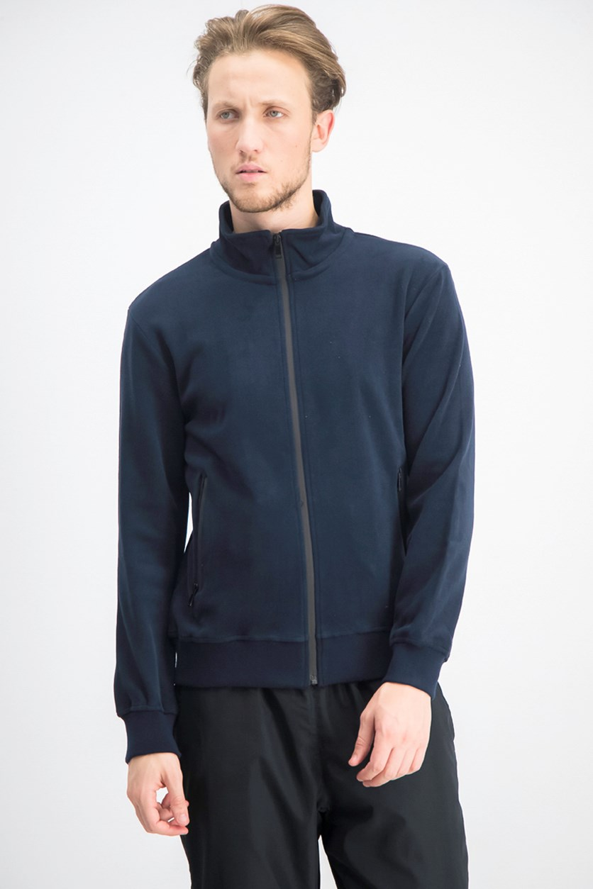 Men's Suede Full Zip Jacket, Navy Blue