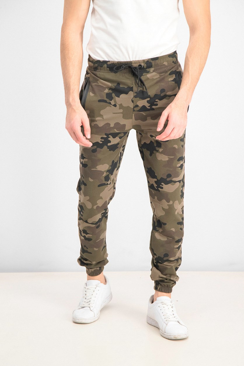 Men's  French Terry Camouflage Jogger Pants, Khaki