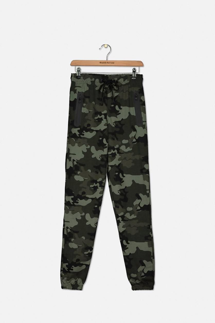 Kids French Terry Camouflage Jogger Pants, Green