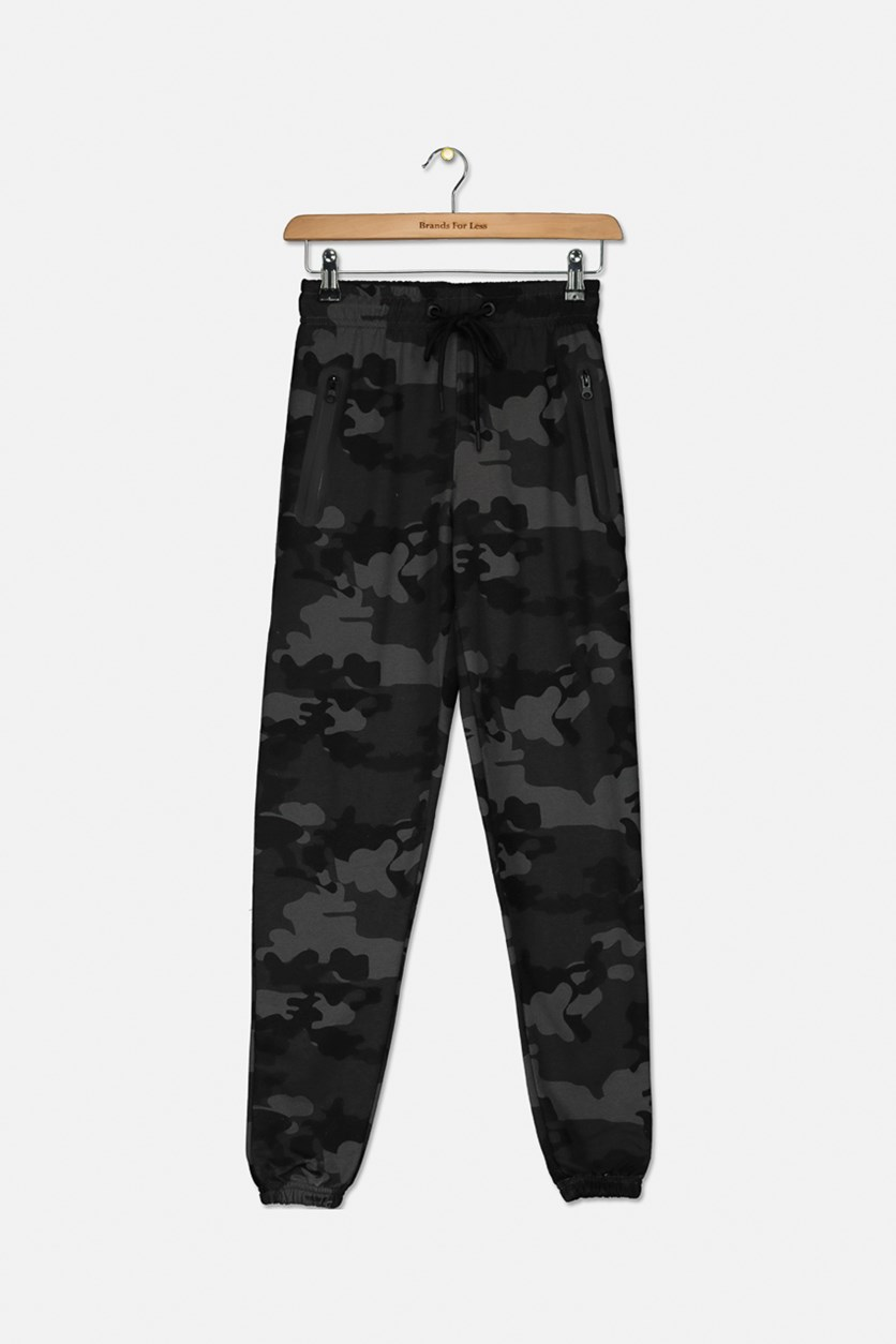 Kids Boys French Terry Camouflage Jogger Pants, Grey