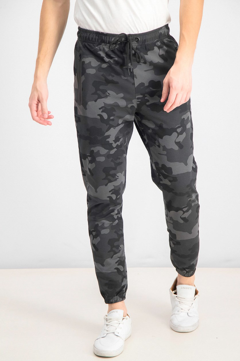 Men's French Terry Camouflage Jogger Pants, Grey