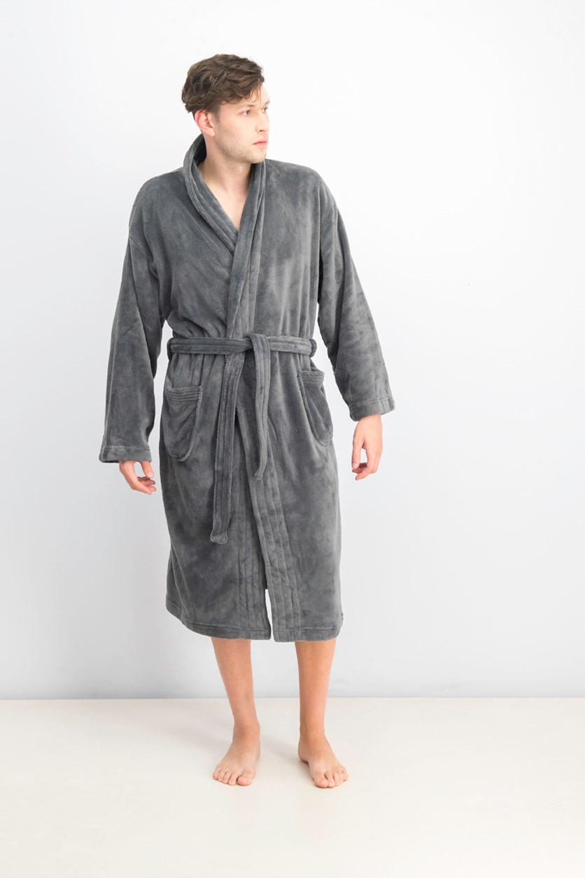 Men's Ultra Plush Robe With Pockets, Grey