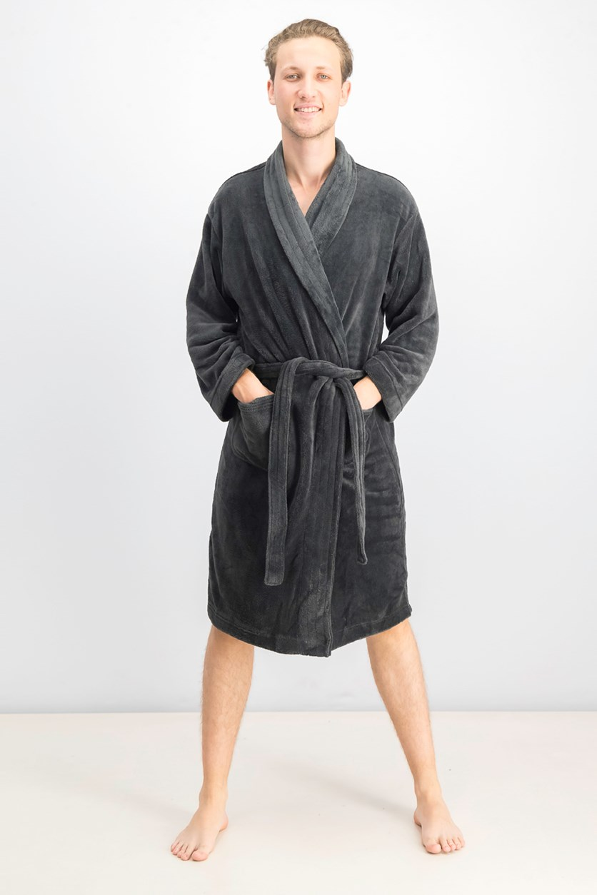 Men's Ultra Plush Robe With Pockets, Charcoal