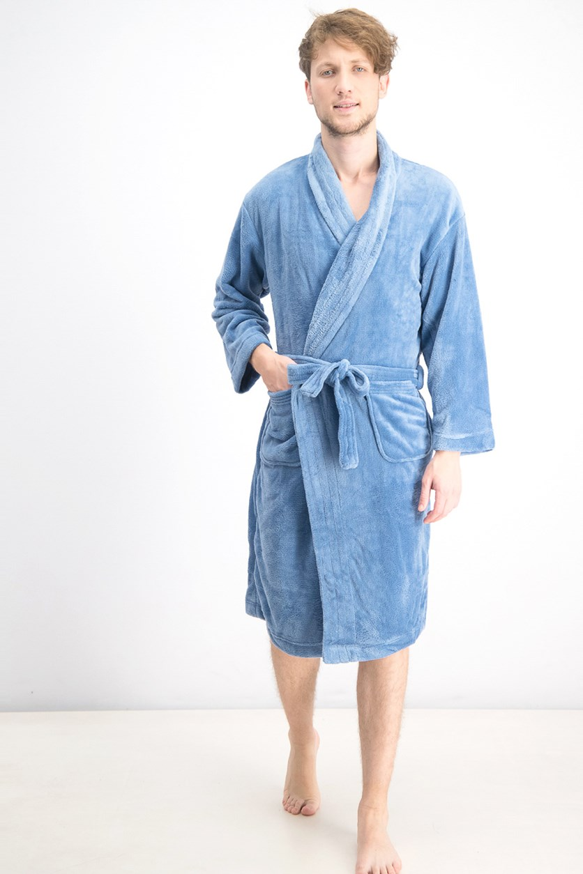 Men's Ultra Plush Robe With Pockets, Allure Blue