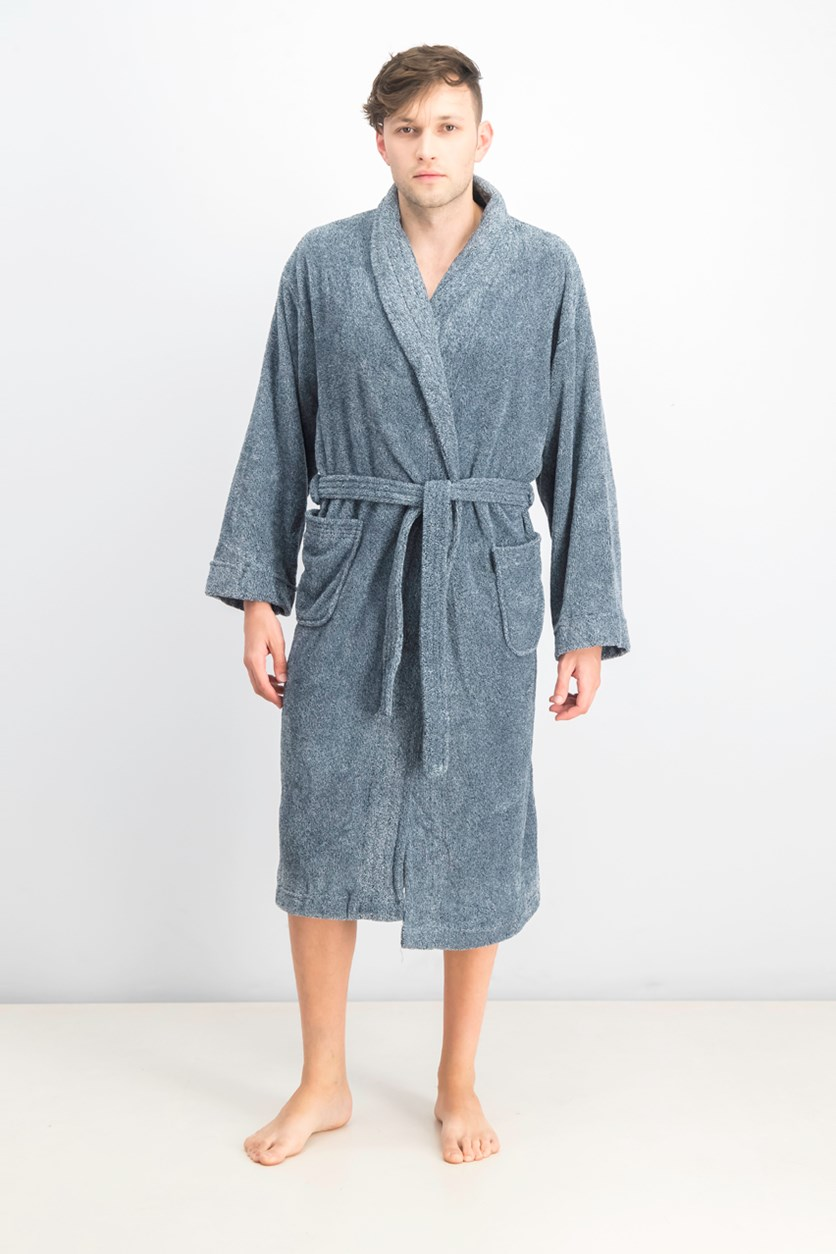Men's Ultra Plush Robe With Pockets, Melange Indigo Blue