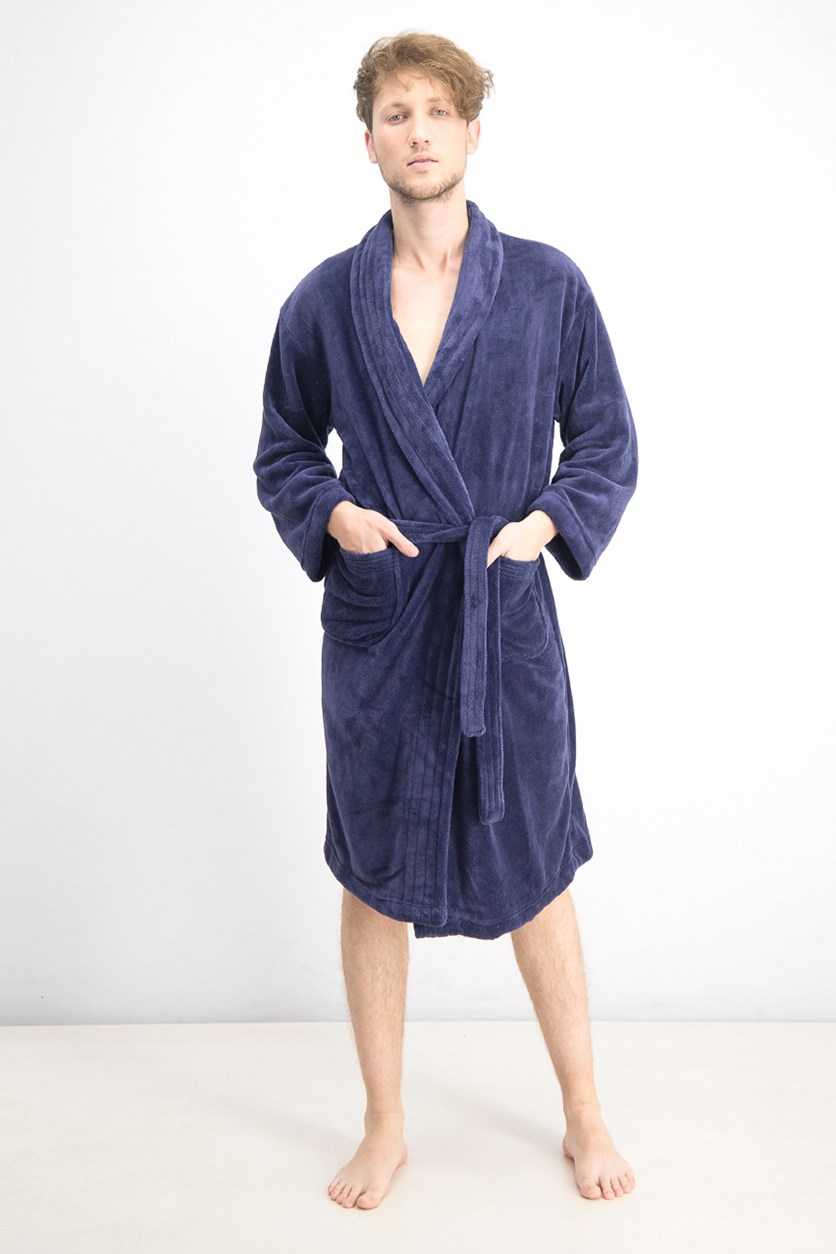 Men's Ultra Plush Robe With Pockets, Melange Royal Blue