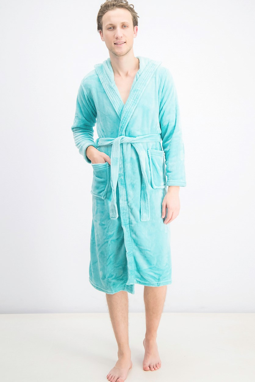 Men's Hooded Fleece Bathrobe, Turquoise