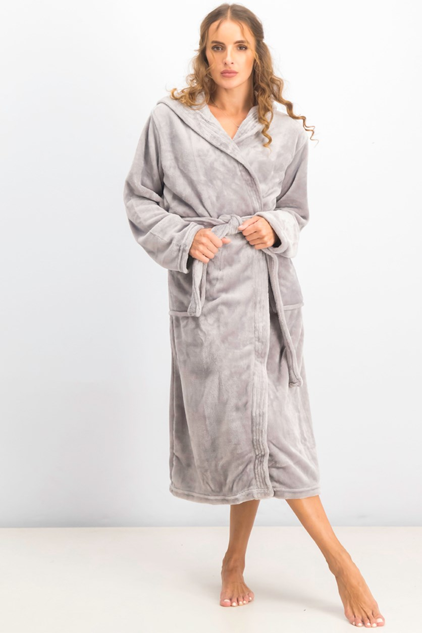 Women's Hooded Fleece Bathrobe, Grey