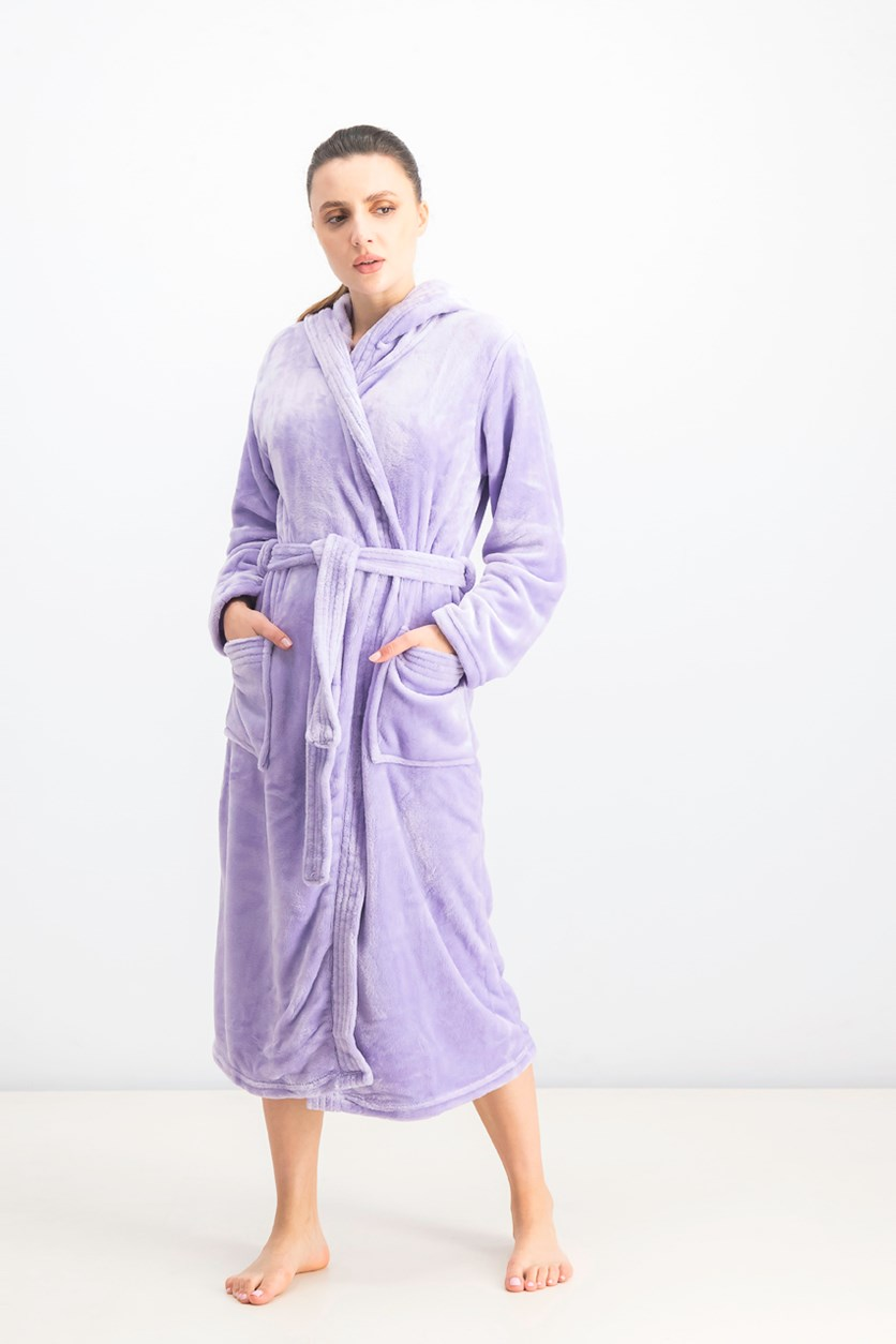 Women's Hooded Fleece Bathrobe, Lavender