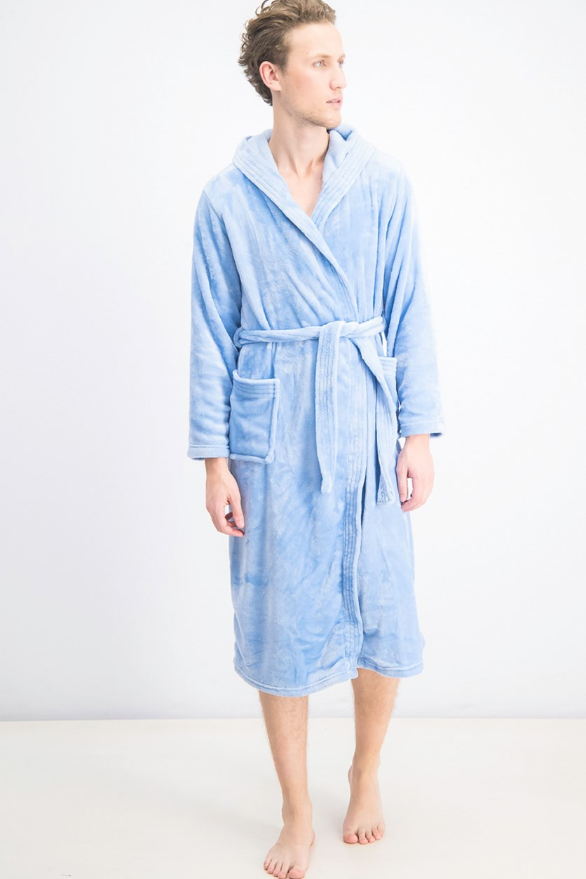Men's Hooded Fleece Bathrobe, Baby Blue