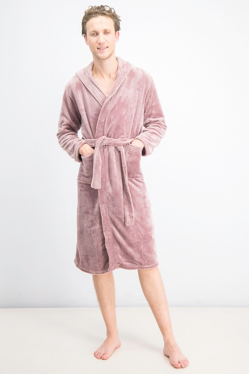 Men's Hooded Fleece Bathrobe, Wood Rose