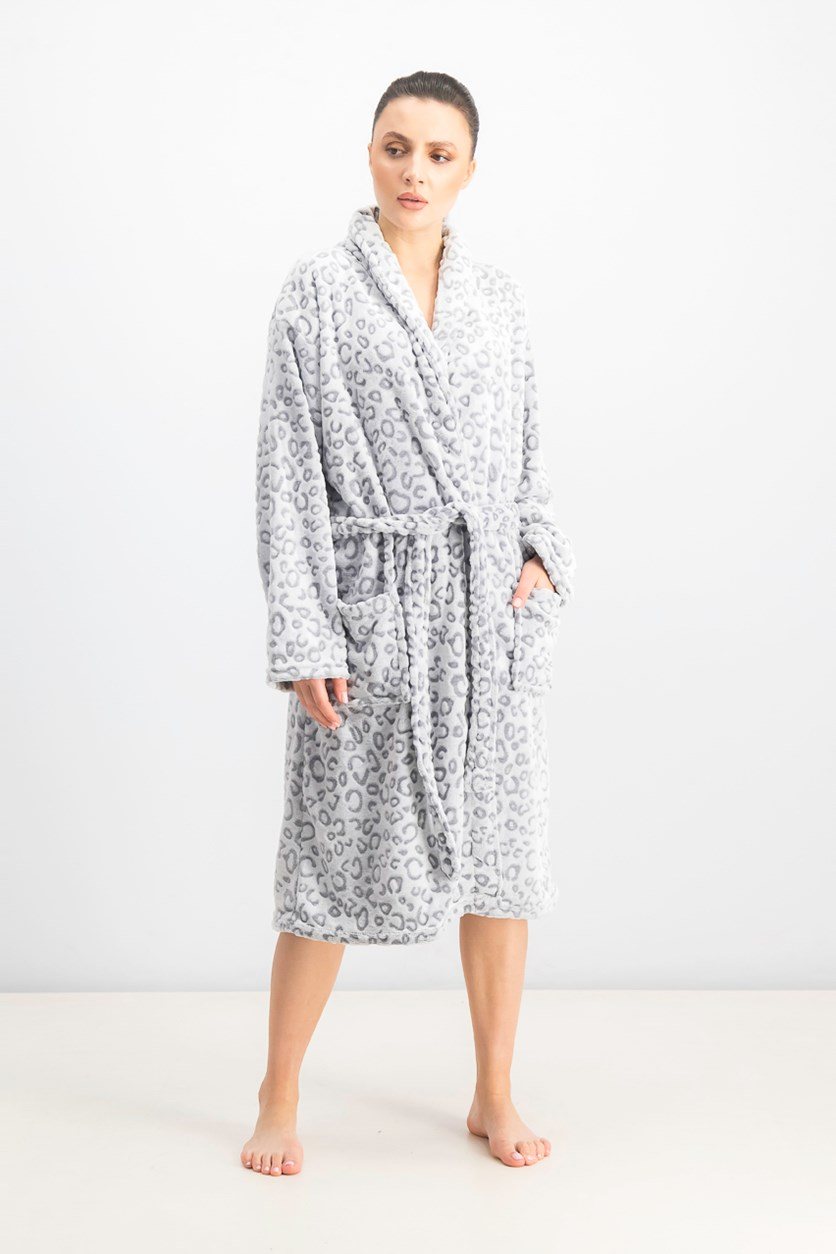 Women's Lips Printed Fleece Bathrobe, Grey/White