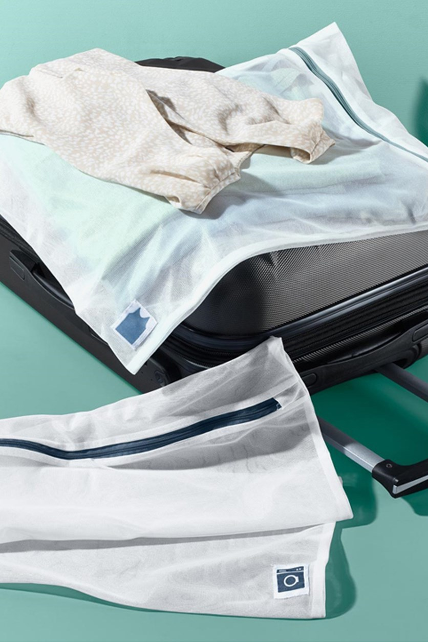 Two Pieces Travel Laundry Bags, White
