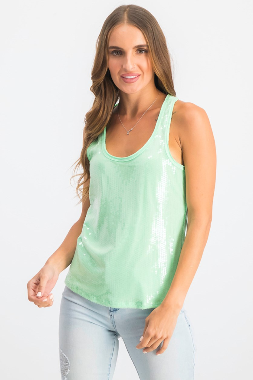 Women's Sequins Embellished Tank Tops, Green