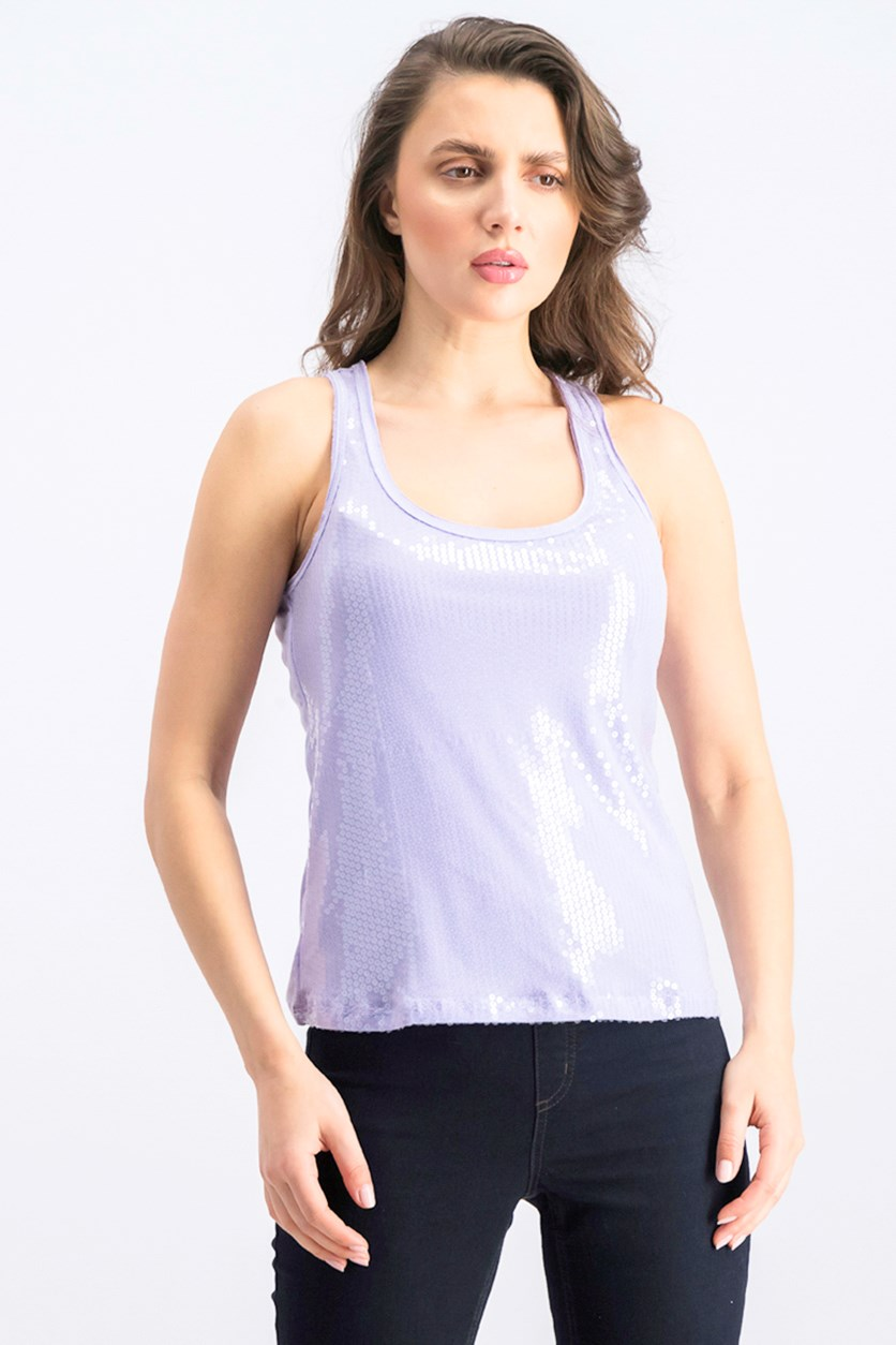 Women's Sequins Day Shine Tank Top, Lilac