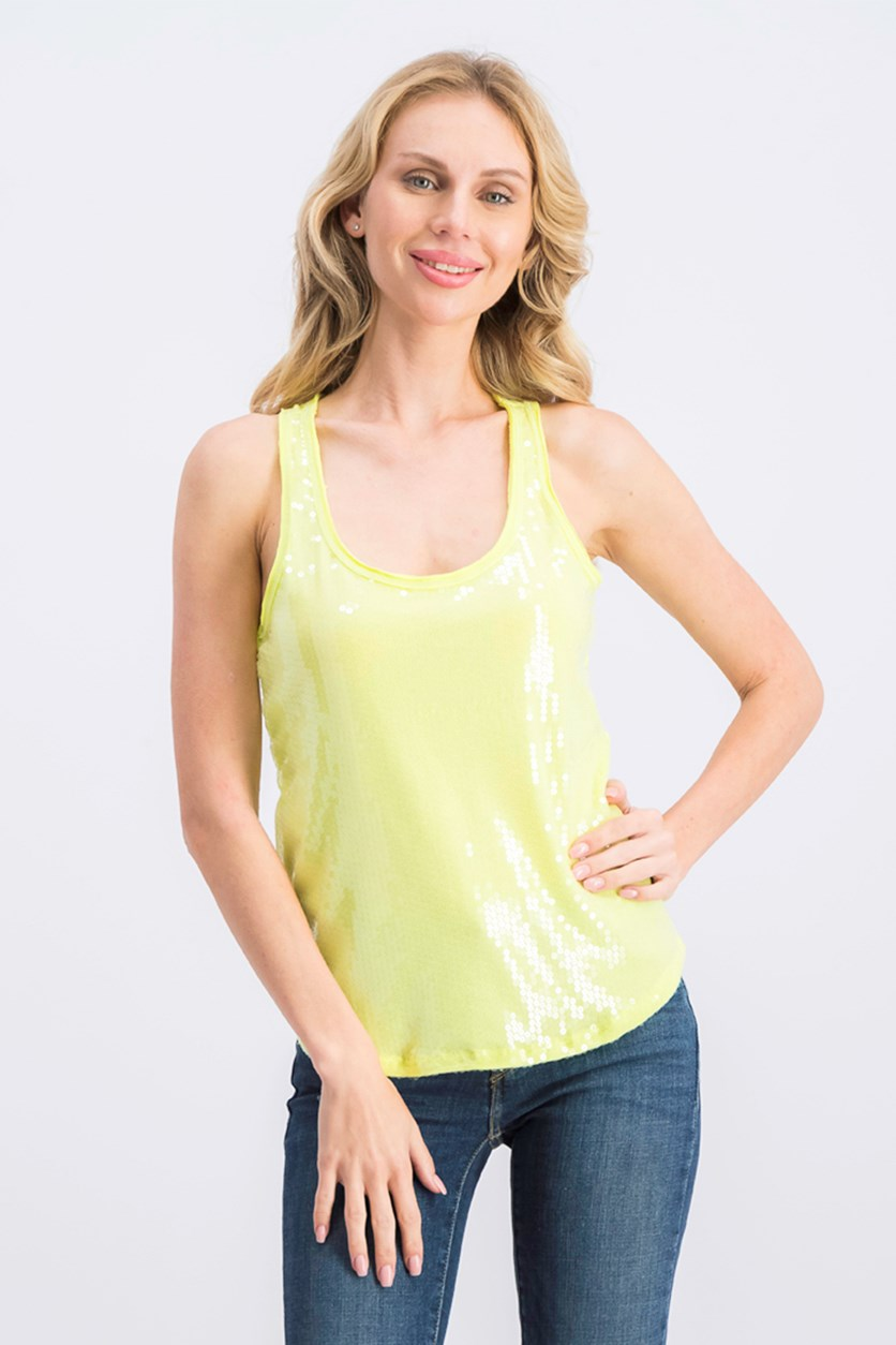 Women's Sequin Day Shine Tank Top, Lime Green