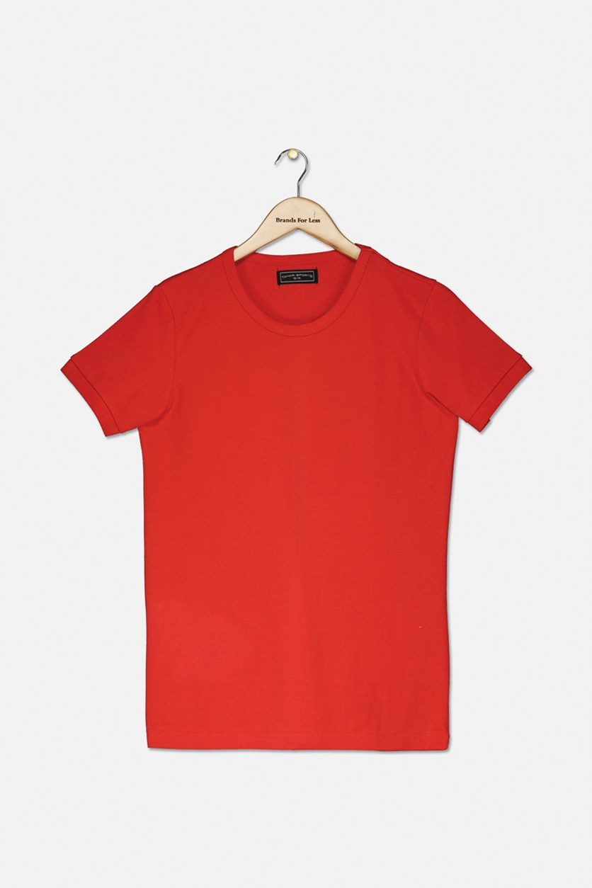 Boy's Crew Neck T-Shirt, Red