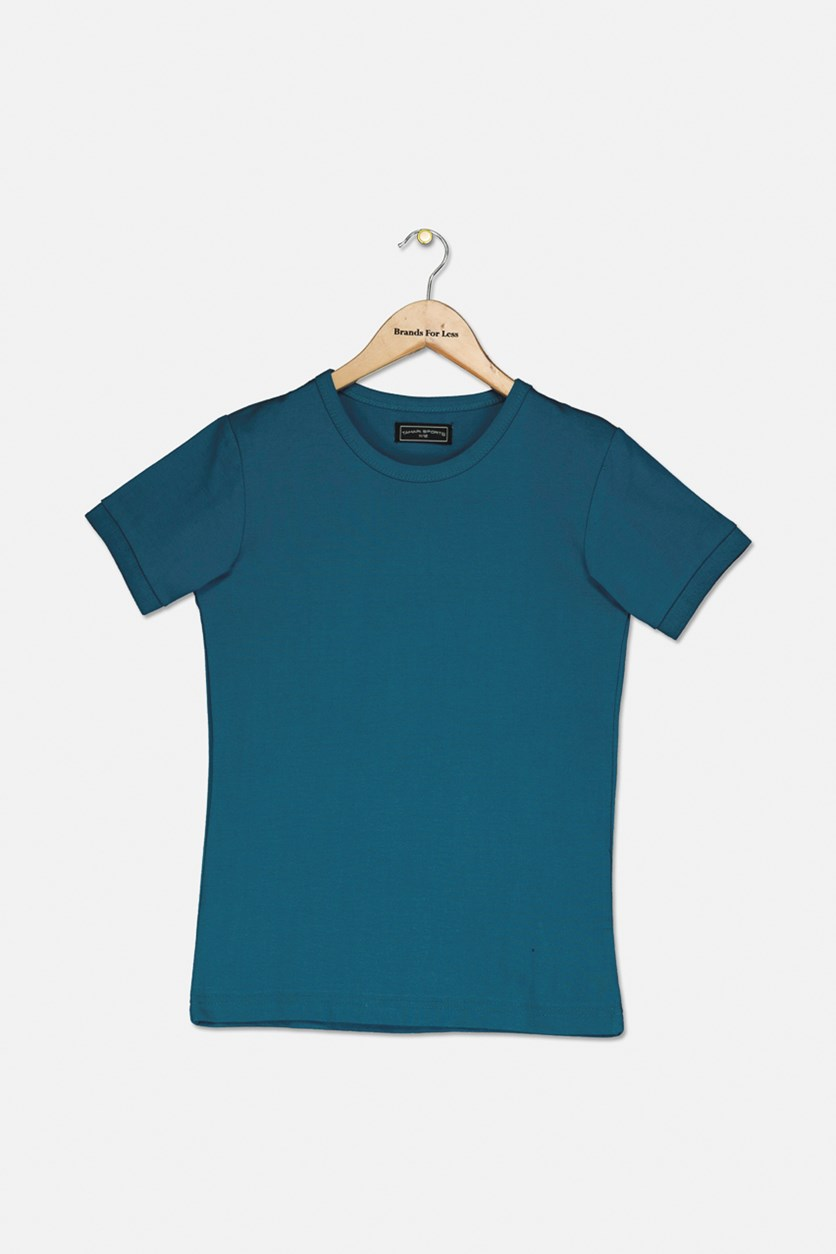 Boy's Crew Neck T-Shirt, Aqua Blue