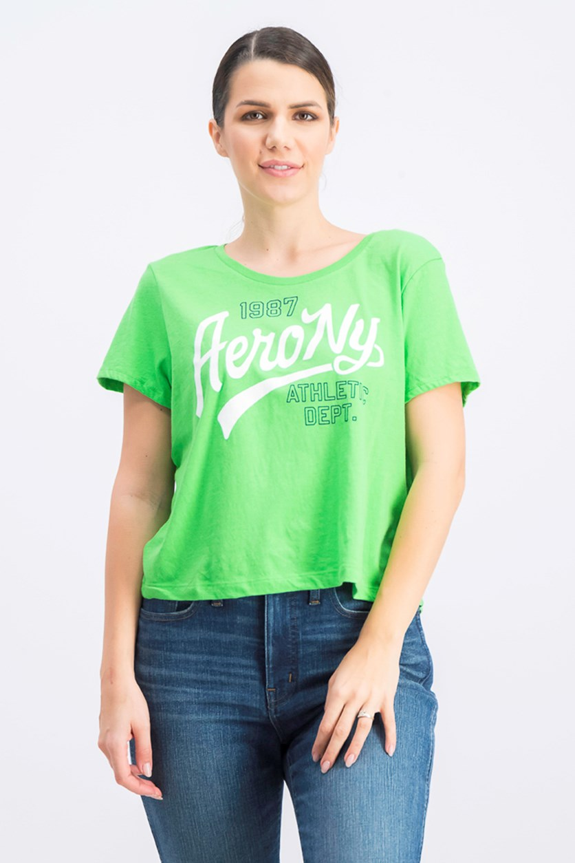 Women's Graphic Print Cropped Top, Neon Green