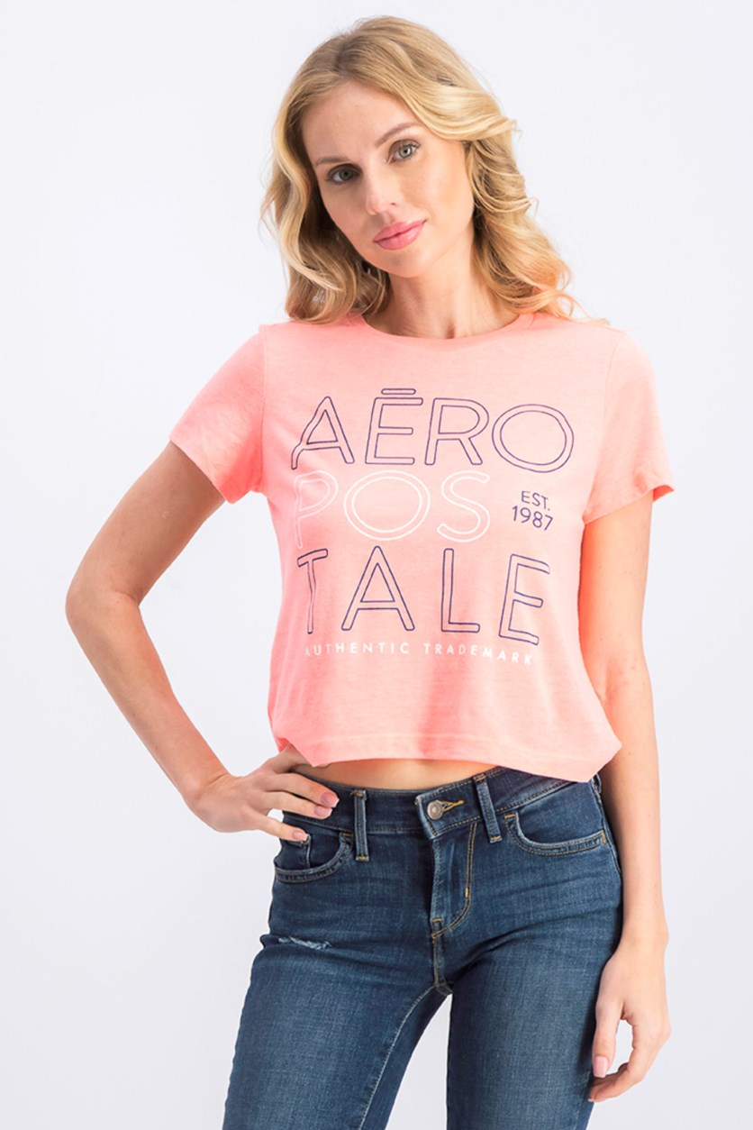 Women's Brand Logo Cropped Top, Neon Coral