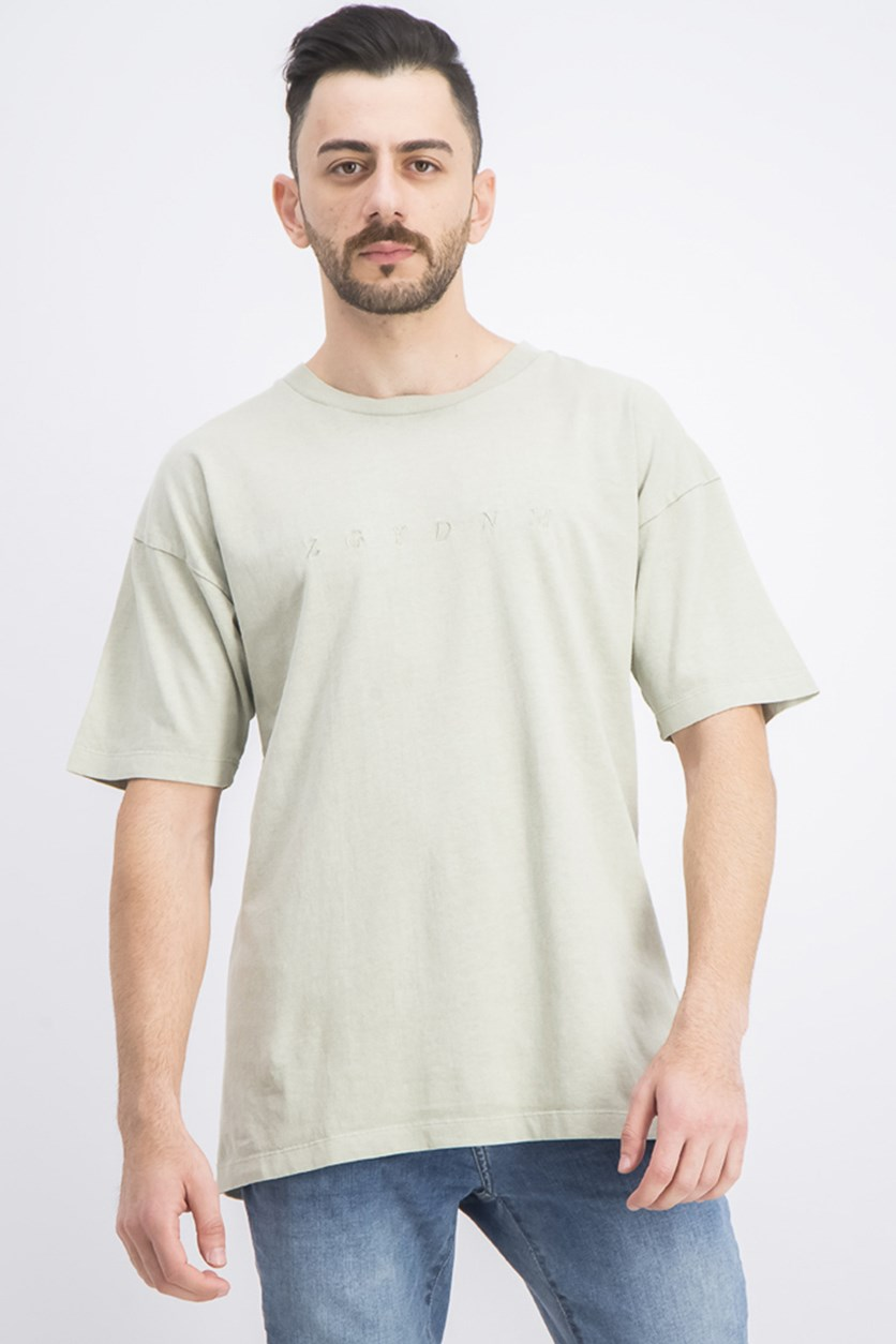 Men's Embroidered Short Sleeve T-Shirt, Sage Green