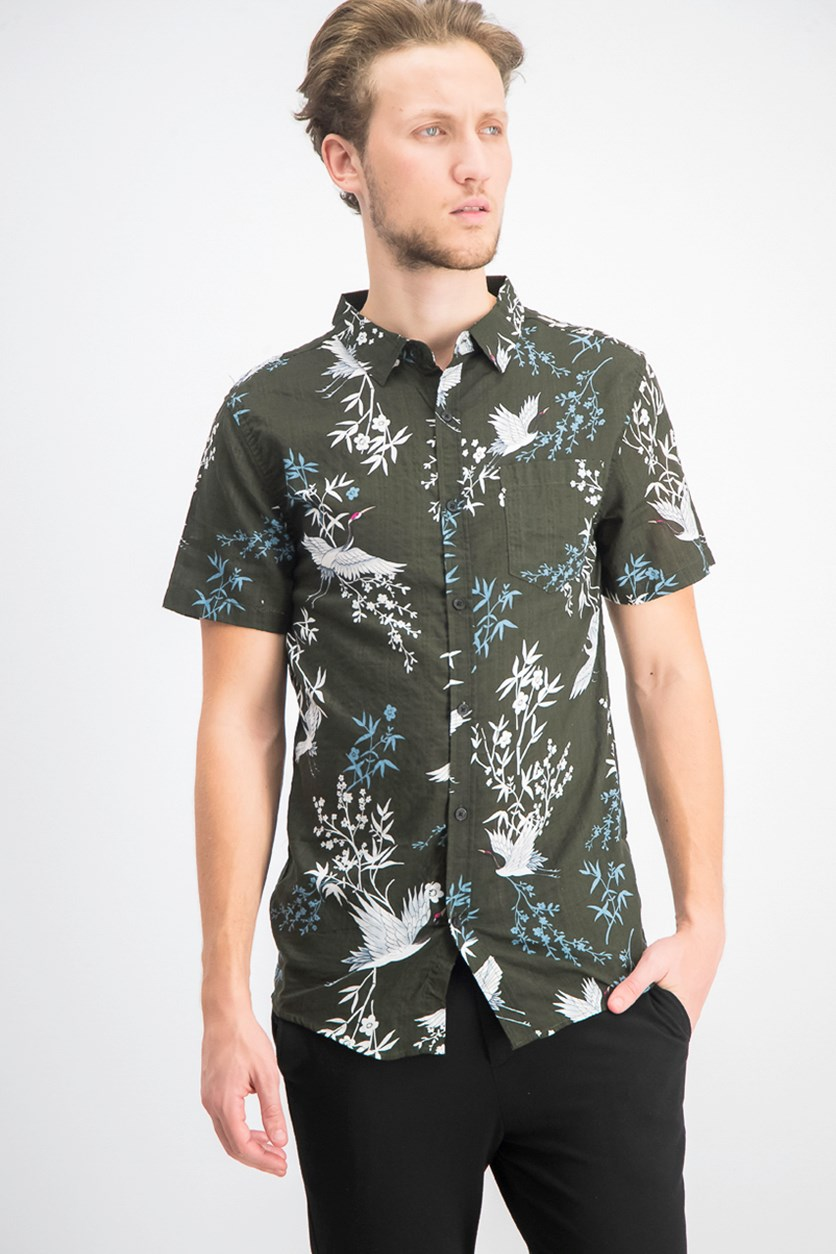 Men's Crane Graphic Party Shirt, Dark Green