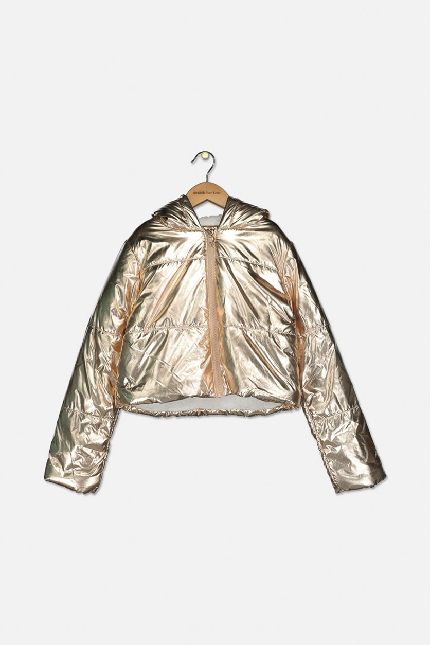 Girls' Alexa Metallic Puffer Coat, Gold