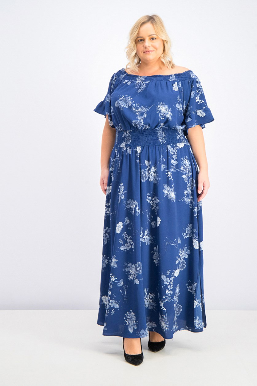 Women's Plus Size Sapphire Garden Maxi Dress, Navy Combo