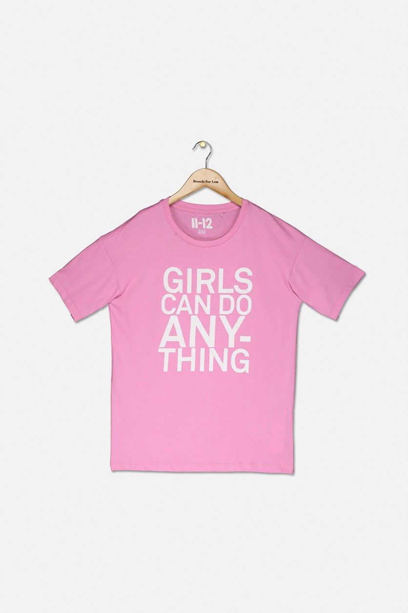 Girl's Penelope Loose Fit Tee, Fuchsia