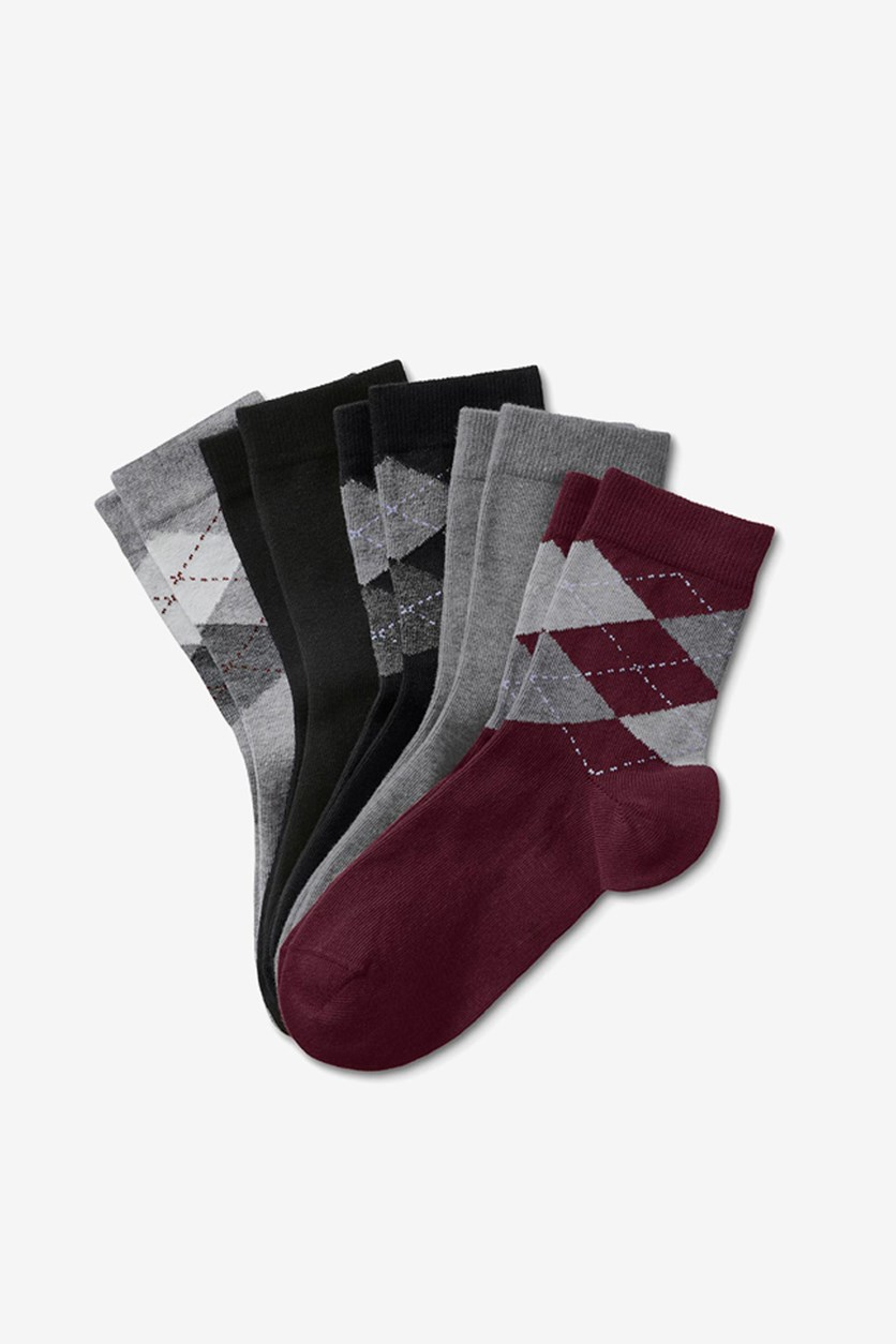 Womens 5 pair Socks, Maroon/Grey