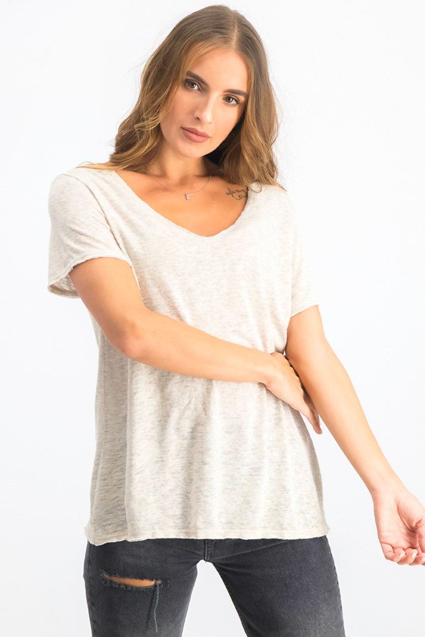 Women's Snit V-Neck T-shirt, Oatmeal