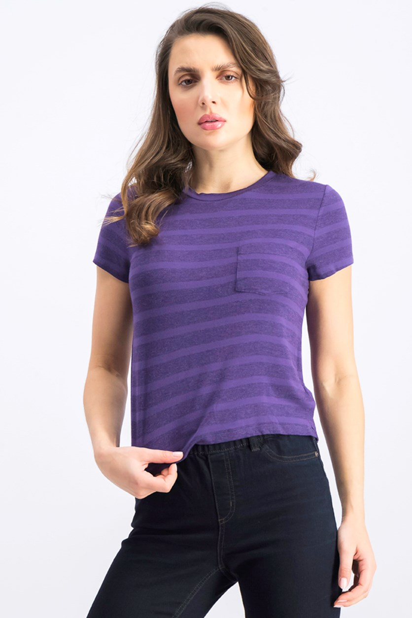Women's Stripe Chest Pocket Crop Top, Purple