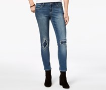 Women's Embellished Ripped & Repaired Skinny Jeans, Blue