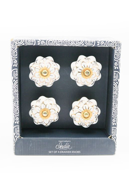 Set Of 4-Drawer Knobs, White