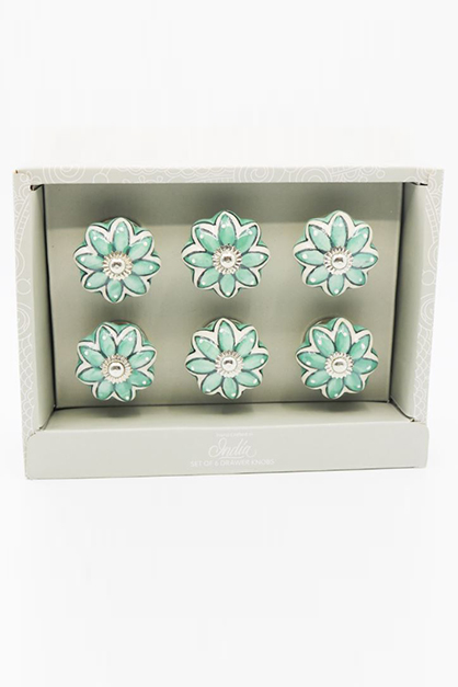 Set Of 6-Drawer Knobs, Green