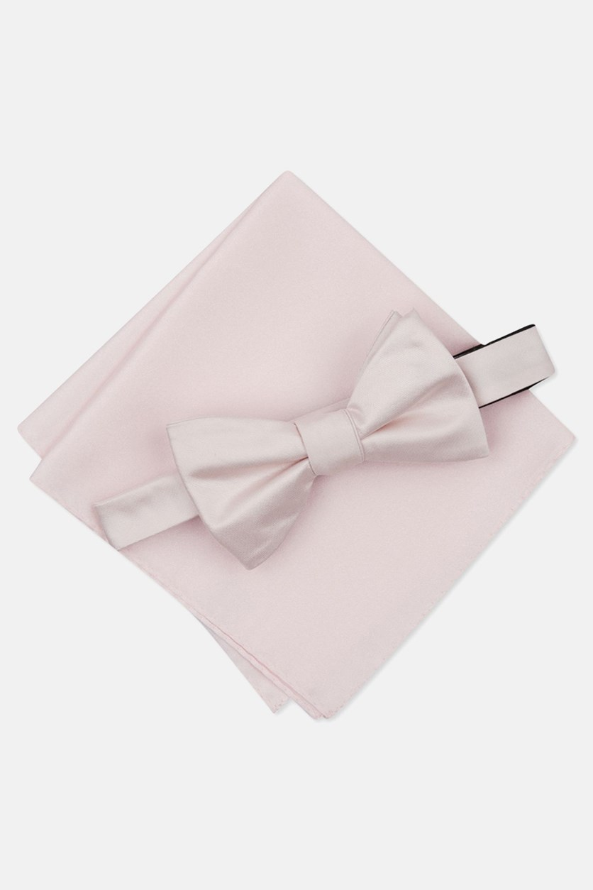 Men's Solid Textured Pre-Tied Bow Tie & Pocket Square Set, Pink
