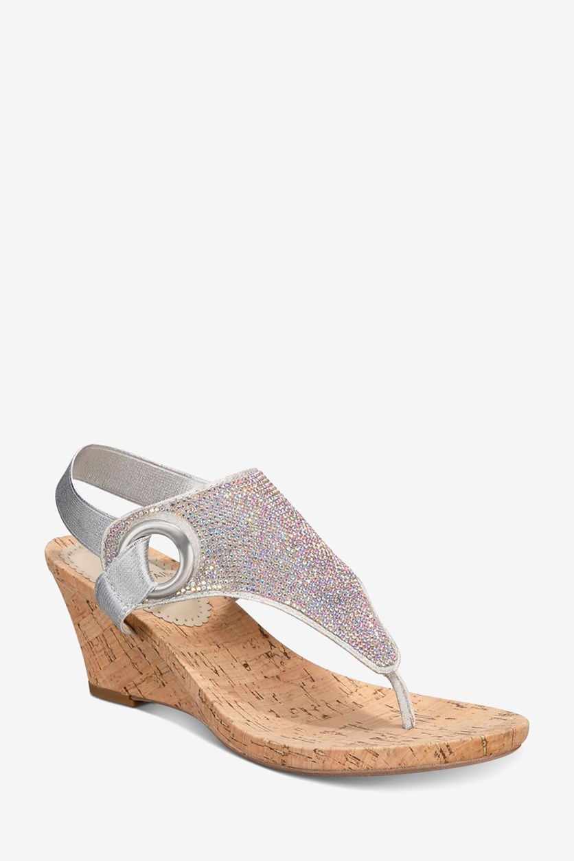 Womens All Done Slingback Wedge Sandals, Silver