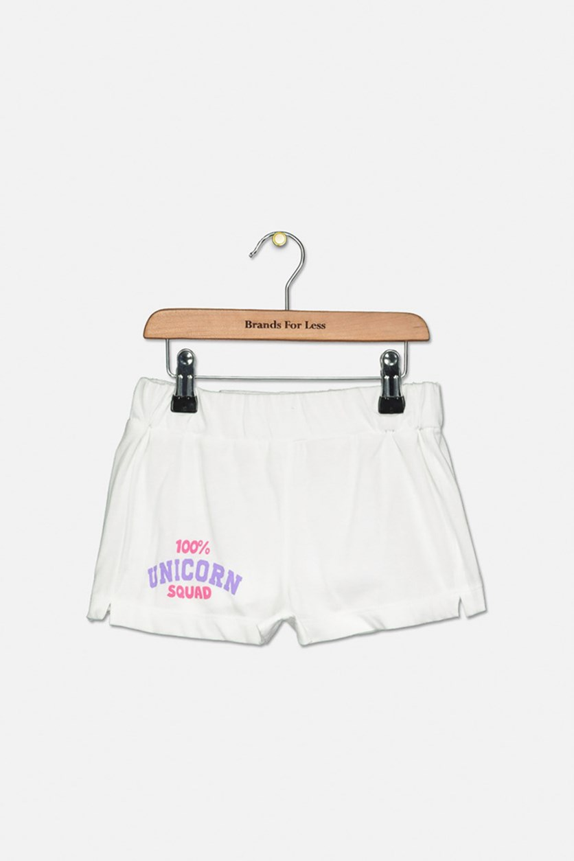 Girl's Unicorn Squad Print Shorts, White
