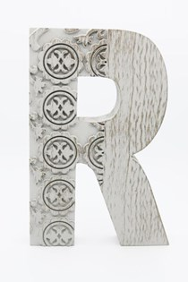 Hanging Wood Letter R, Gray